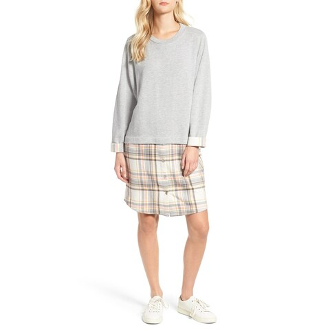 Caslon Gray Womens Size XXL Long Sleeve Layered Plaid Tunic Dress