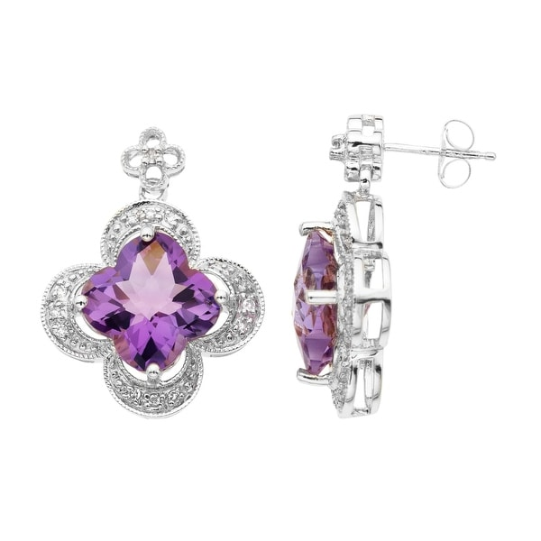 14 ct Created Pink Sapphire Earrings with 1/8 ct Diamonds in Sterling Silver and 14K Rose Gold