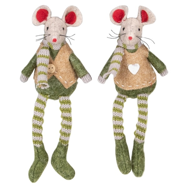 "Set of 2 Boy and Girl Mice Christmas Ornaments 7.5"". Opens flyout."