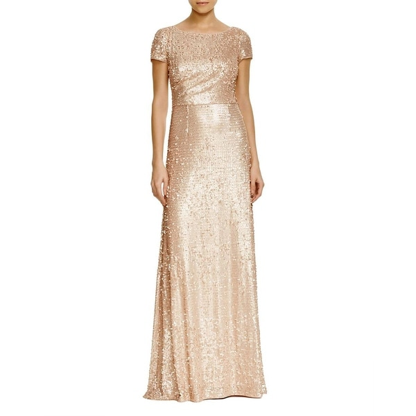 Adrianna Papell Womens Evening Dress Sequined Gathered
