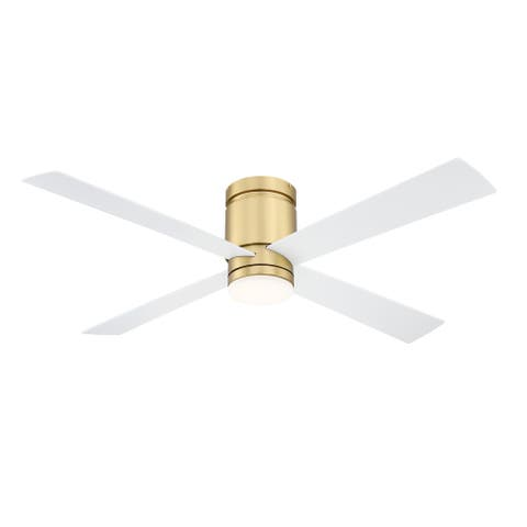 Kwartet 52 inch Indoor/Outdoor Ceiling Fan with LED Light Kit - Brushed Satin Brass with Matte White Blades