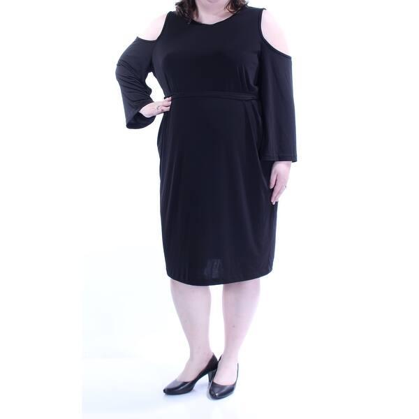 Shop CALVIN KLEIN Womens Black Tie Cut Out Long Sleeve Jewel Neck ...