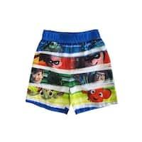Disney Little Boys Multi Color Cartoon Characters UPF 50+ Swim Shorts