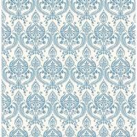 Brewster 1014-001817 Waverly Indigo Petite Damask Wallpaper - waverly indigo
