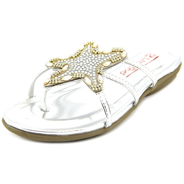 2 Lips Too Too Cai Women Open Toe Synthetic Silver Slides Sandal