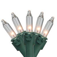 """Set of 50 Clear Mini Christmas Lights 2.5"""" Spacing - Green Wire"""