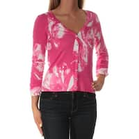 INC Womens Pink Floral 3/4 Sleeve V Neck Top  Size: XS