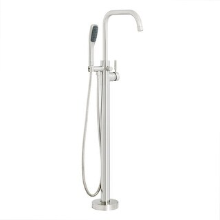 Miseno MTF194 Floor Mounted Tub Filler with Single Lever Handle and Built-In Diverter - Hand Shower Included