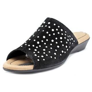 J. Renee Stellen Women  Open Toe Suede Black Slides Sandal