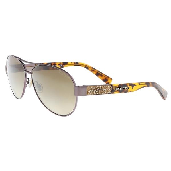 7cb4913c2ce67 Shop Jimmy Choo BABA S 0VUT Shiny Bronze Aviator Sunglasses - 59-13 ...