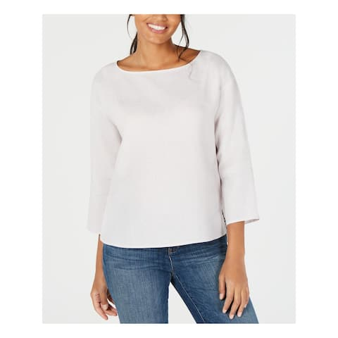 EILEEN FISHER Womens White 3/4 Sleeve Boat Neck Top Size: XS