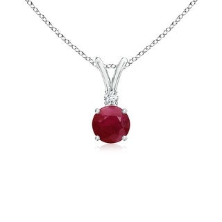 Angara V-Bail Round Ruby Solitaire Pendant with Diamond - Red/White