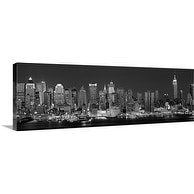 Premium Thick-Wrap Canvas entitled New York, New York City, Panoramic view of the West side skyline at night (Black And