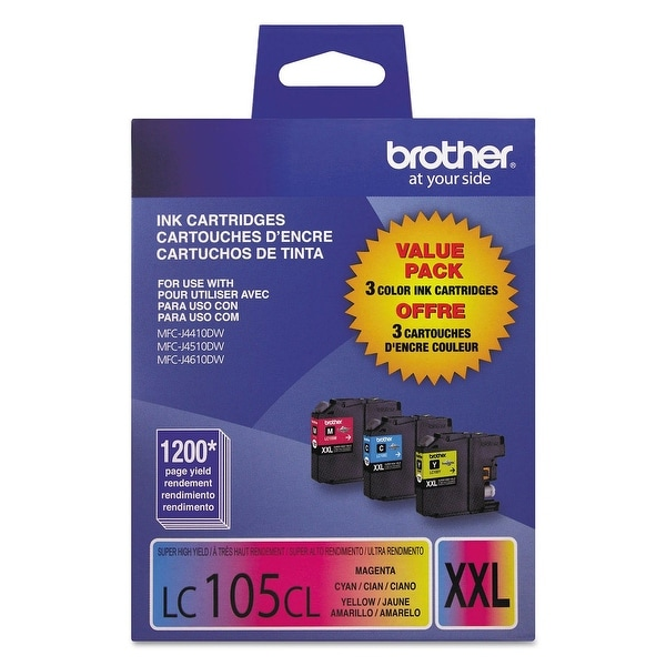 Brother LC105 High-Yield Color Ink Cartridges, 3 pack