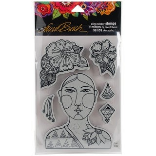 "Stampendous Laurel Burch Cling Stamp W/ Template 9""X5.25""-Blossoming Woman"