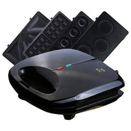 ZZ S6142A 4 in 1 Sandwich Waffle Burger and Donut Maker with 4 Sets of Detachable Non-stick Plates, Black