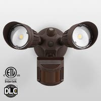 20W Dual-Head Motion Activated LED Outdoor Security Light,3000K/5000K,Bronze
