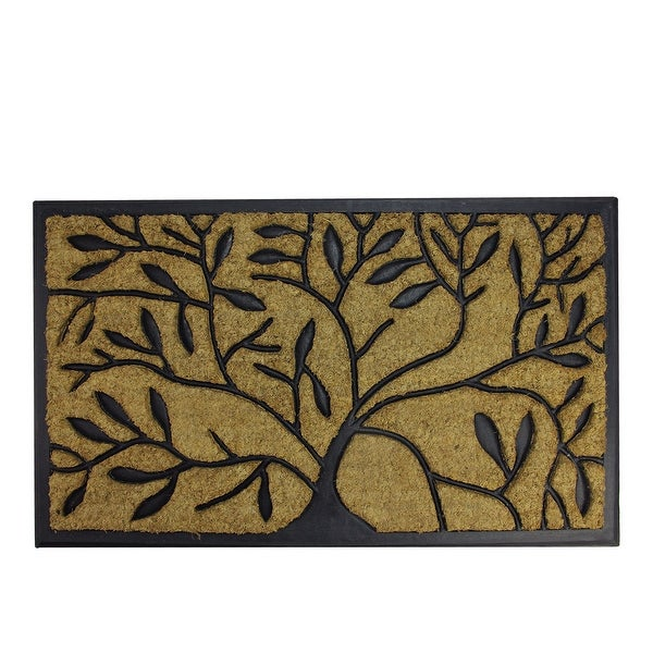 "Decorative Black Rubber and Coir Outdoor Rectangular Door Mat 29.5"" x 17.75"""