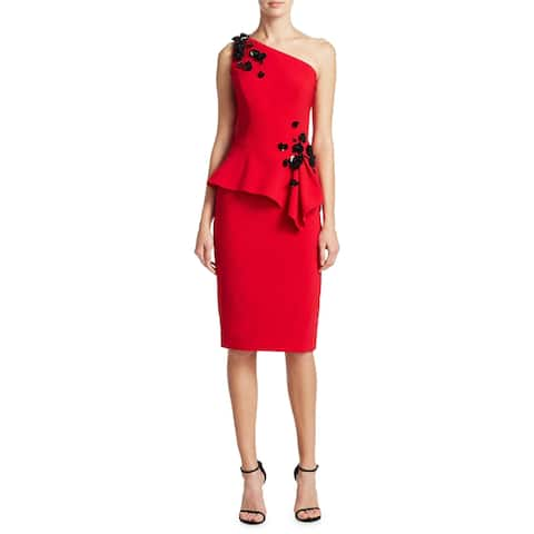 Theia Embellished Peplum One Shoulder Cocktail Dress Cherry/Black