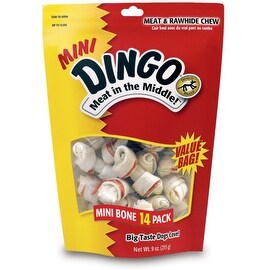 Dingo Brand Meat in the Middle, Mini Bones 14 ea