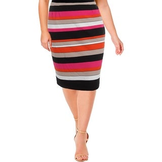 Kasper Womens Pencil Skirt Striped Knee-Length