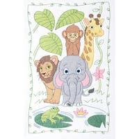 """Stamped White Quilt Crib Top 40""""X60""""-Jungle"""