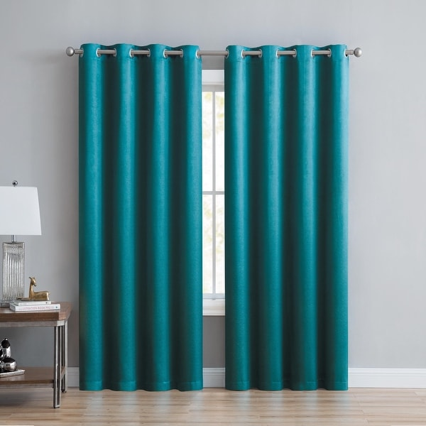 """Anette Room Darkening Shiny Window Curtain Panels 84"""" or 90"""" (Single, 2-Pack or 4-Pack). Opens flyout."""