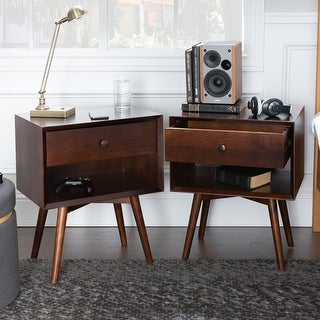 Link to Carson Carrington Mid-Century 1-Drawer, Open Shelf Nightstands, Set of 2 Similar Items in Bedroom Furniture