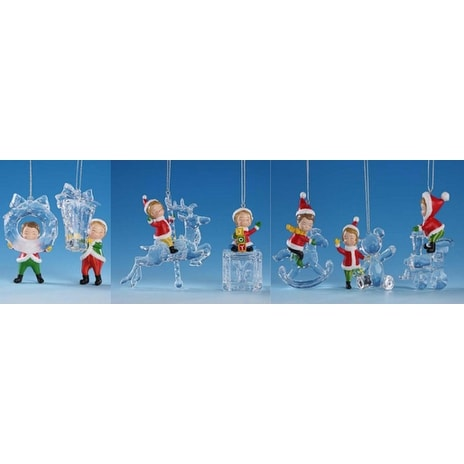 "Club Pack of 14 Whimsical Decorative Icy Crystal Christmas Elves Ornaments 3"" - CLEAR"