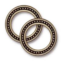 TierraCast Brass Oxide Finish Pewter 20mm Beaded Ring Connector Link (2)