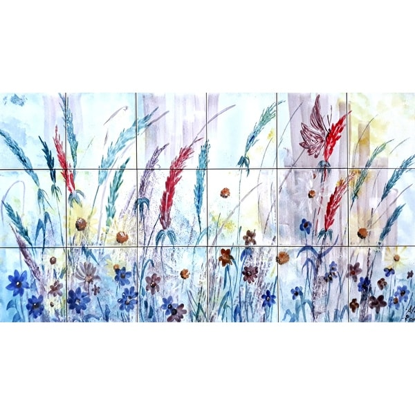 36in x 18in Floral Gardenia Mosaic 18pc Tile Ceramic Wall Mural. Opens flyout.