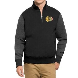 47 NEW Black Mens Small S Chicago Blackhawk 1/4 Zip Colorblock Sweater