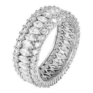 Marquise Lab Diamond Ring Eternity Band Womens Sterling Silver Engagement