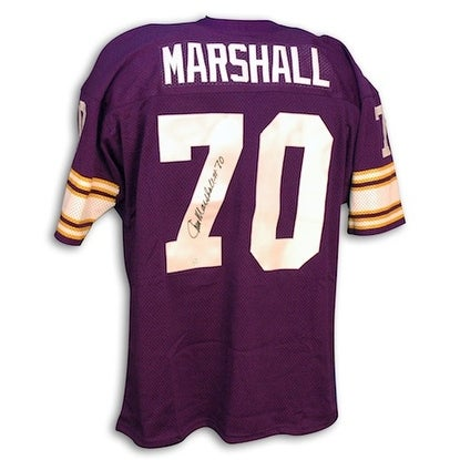 huge selection of 6fcff d5896 Autographed Jim Marshall Minnesota Vikings Purple Throwback Jersey