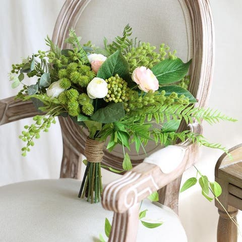 "Wedding Bouquet Spring Rose Greenery Bridal Bouquet 14"" Tall - Green/Pink"