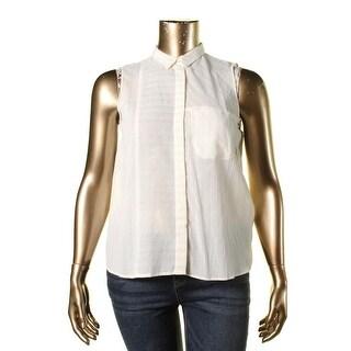 Zara Basic Womens Metallic Striped Button-Down Top