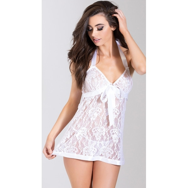 1f4221d8301 Shop White Satin And Lace Babydoll Set
