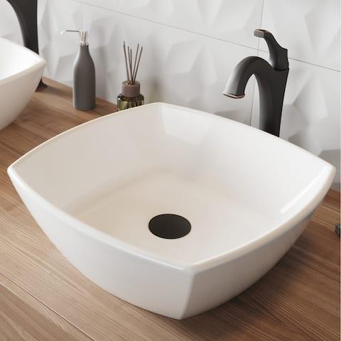 Kraus 3-in-1 Set White Square Ceramic Vessel Sink Arlo Faucet w/ Drain
