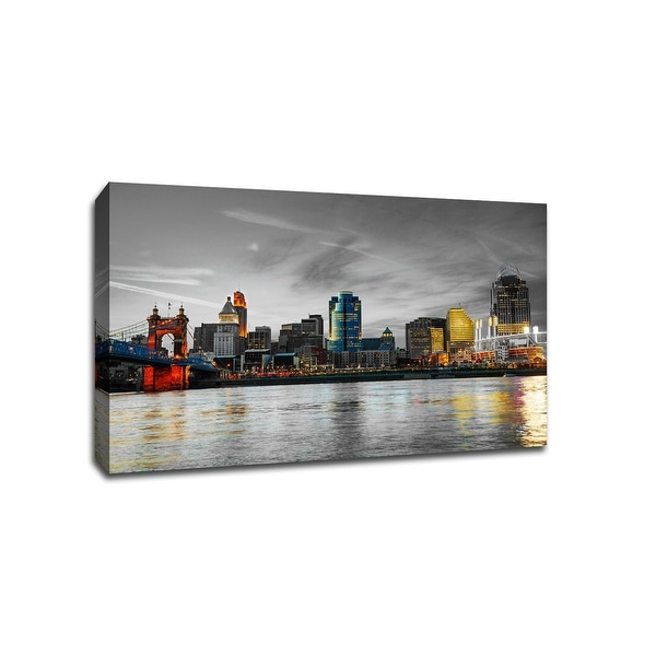 Cincinnati - Touch of Color Skylines - 36x24 Gallery Wrapped Canvas Wall Art ToC