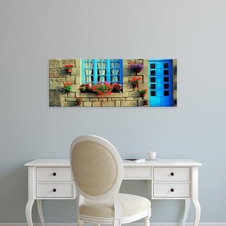Easy Art Prints Panoramic Images's 'Facade of a building, Locronan, France' Premium Canvas Art