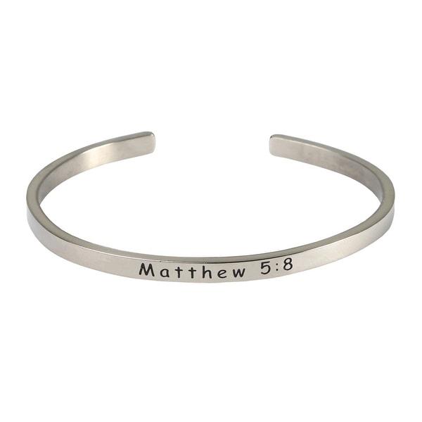 Women's Bible Verse Sterling Silver Engraved Cuff Bracelet - Mathew 5:8