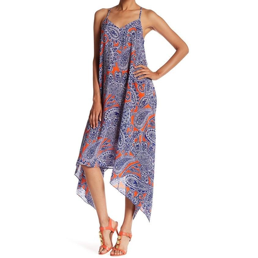 Trina Turk Womens Dress Orange Blue Size 4 Maxi Silk V-Neck Printed
