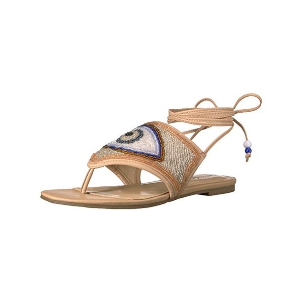 Katy Perry Womens The Lauren Flat Sandals Beaded Thong - 8 medium (b,m)
