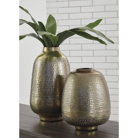 The Curated Nomad Miller 2-piece Hammered Metal Vase Set