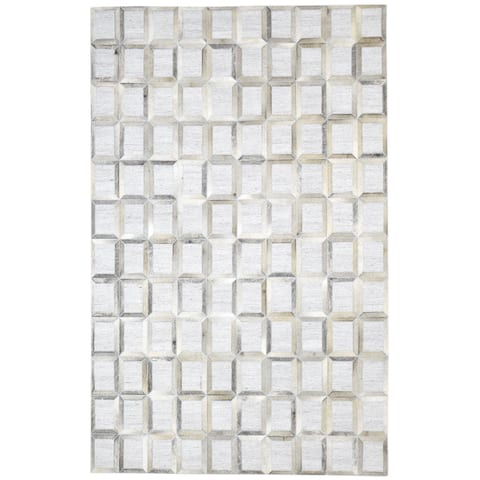 """One of a Kind Hand-Woven Modern & Contemporary 5' x 8' Geometric Leather Grey Rug - 4'11""""x7'10"""""""