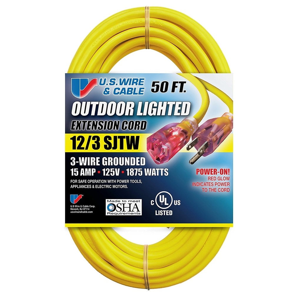 12//3... 50 Foot Lighted Outdoor Extension Cord with 3 Electrical Power Outlets