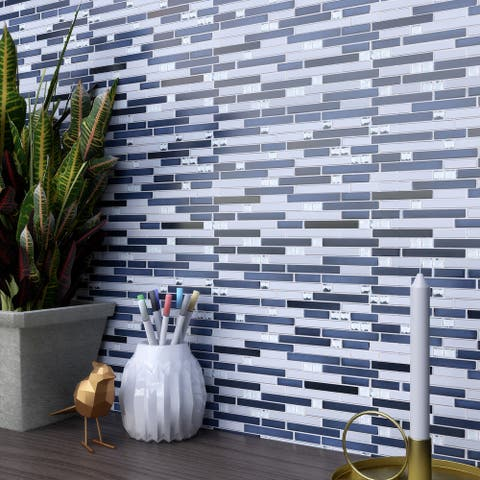 TileGen. Crystal Diamond Random Sized Metal and Glass Mosaic Tile in Blue/Silver Wall Tile (10 sheets/9.6sqft.)
