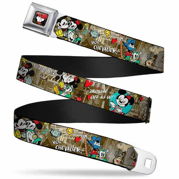 Mickey & Minnie Kiss Heart Full Color Gray Mickey & Minnie Croissant De Seatbelt Belt