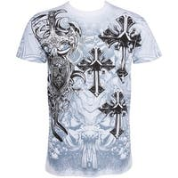 Cross,Sword and Shield Metallic Silver Crew Neck Konflic T-Shirt