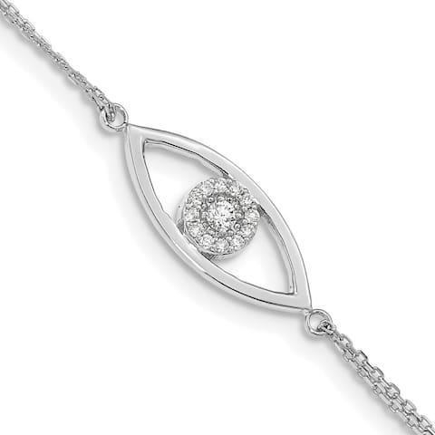 """14k White Gold 2 Strand A Diamond Evil Eye Bracelet, 7"""" w/1in Extender"""